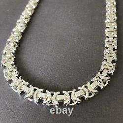 11mm Mens Flat Byzantine Euro Chain Necklace 925 Sterling Silver 128GR 26Inch