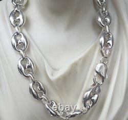 11mm Mens Puffed Mariner Link Chains Necklaces 925 Sterling Silver 42gr 20Inch