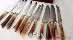 12 vintage French knives knifes sterling silver ferrules bovine horn handles