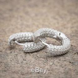 14K White Gold 925 Sterling Silver Fully Iced Cz Mens Round Huggie Hoop Earrings