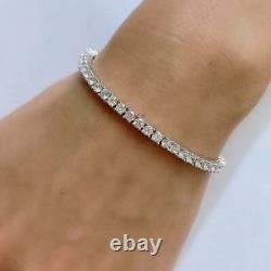 14k White Gold Over 925 Sterling Silver 3mm Tennis Women Bracelet Diamond 7.25