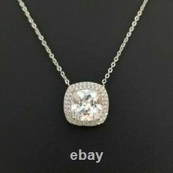 14k White Gold Over 925 Sterling Silver Round Diamond Solitaire Pendant Necklace