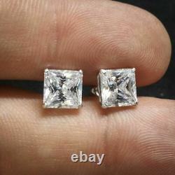 14k White Gold Over Unisex 925 Sterling Silver Princess Cut Diamond Stud Earring