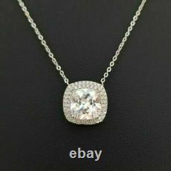 14k White Gold Over W Sterling Silver Round Diamond Solitaire Pendant Necklace