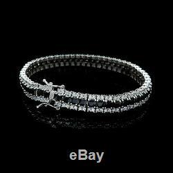 15CT Princess Black & Round Princess Diamond Tennis Bracelet 925 Sterling Silver