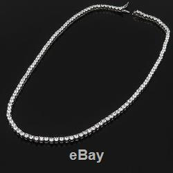 16 Created Diamond Necklace 13.75tcw Round 925 Solid Sterling Silver