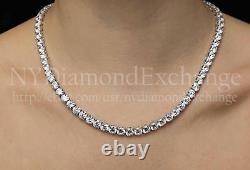 16 Created Diamond Tennis Necklace 40.00tcw Round 925 Solid Sterling Silver 5mm