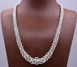 17 Italian Diamond Cut Graduated Byzantine Link Necklace Sterling Silver 925