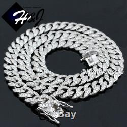 18-30men 925 Sterling Silver 8mm Icy Diamond Miami Cuban Chain Necklacesn11