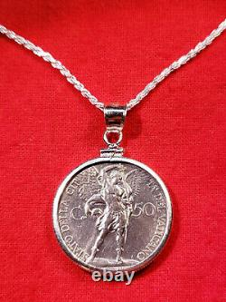 1933 Vatican St Michael the Archangel Coin Sterling Silver Pendant Necklace +Box