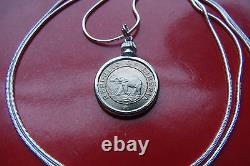 1941 Rare Elephant & Palm Tree Coin Pendant 30 925 Sterling Silver Snake Chain