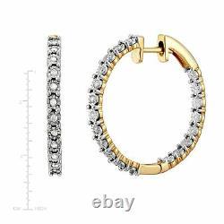 1/2 ct Diamond Hoop Earring & Bolo Bracelet Set, 14K Gold-Plated Sterling Silver