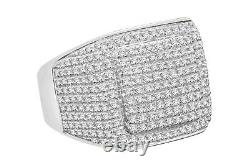 1.47 Carat Genuine Diamonds Mens Sterling Silver Engagement Diamond Ring Pinky