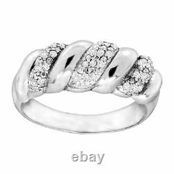 1/4 ct Diamond San Marco Wave Ring in Sterling Silver