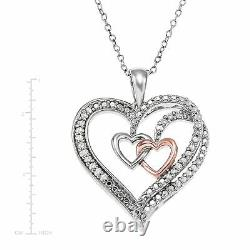 1/4 ct Diamond Three Heart Pendant Necklace in Sterling Silver, 18
