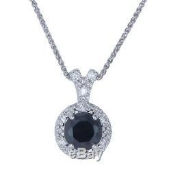 1.50 CT Natural Black Diamond Pendant. 925 Sterling Silver + 18 Inch Chain + Box