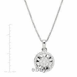 1/5 ct Diamond Halo Pendant in Sterling Silver, 18