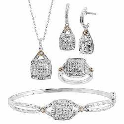 1/5 ct Diamond Pendant, Bangle, Ring, & Earrings Set, Sterling Silver Over Brass