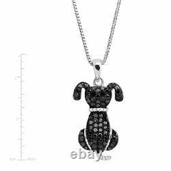 1/6 ct Black & White Diamond Dog Pendant in Sterling Silver, 18