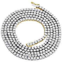 1 Row Necklace Genuine Diamond Link Chain Mens 925 Sterling Silver 36 0.83 CT