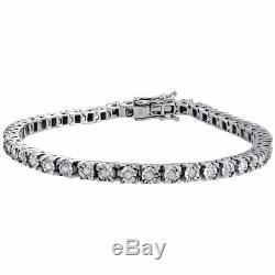 1 Row Sterling Silver Genuine Round Diamond Tennis Bracelet 7.25 Links 1 Ctw