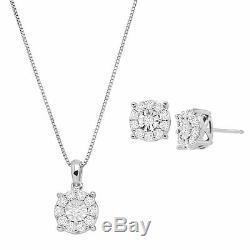 1 ct Diamond Halo Wheel Pendant & Earring Set in Sterling Silver