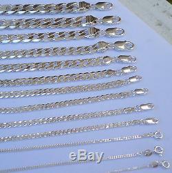 1mm -15mm Men's Women's 925 Sterling Silver Cuban Link Chain Necklace 16-36