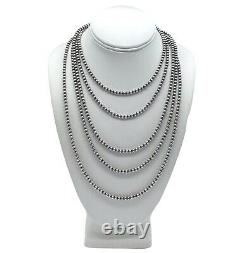 20 Navajo Pearls Sterling Silver 5mm Beads Necklace