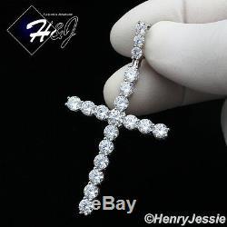 20men 925 Sterling Silver 3mm Icy Diamond 1 Row Tennis Chain Cross Pendantp170