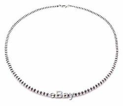 24 Navajo Pearls Sterling Silver 4mm Beads Necklace