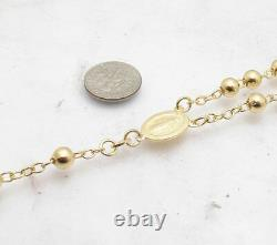 26 6mm Technibond Rosary Chain Necklace 14K Yellow Gold Clad Sterling Silver