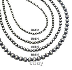 28 Navajo Pearls Sterling Silver 4mm Beads Necklace