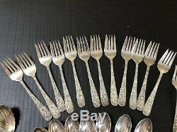 28pc S KIRK & Son REPOUSSE STERLING SILVER FLATWARE SPOONs FORKs 1924 Mono D