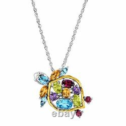 2 1/2 ct Natural Multi-Stone Turtle Pendant in Sterling Silver & 14K Gold