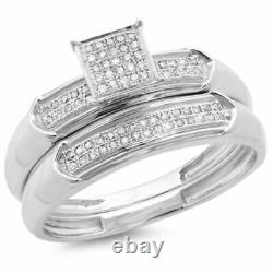 2.25 CT 925 Sterling Silver Round Diamond Ladies Bridal Engagement Ring Band Set