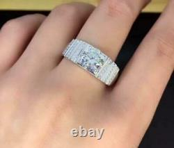 2.30 Ct With Diamond Men's Wending Ring 10K White Gold Over 925 Sterling Silver