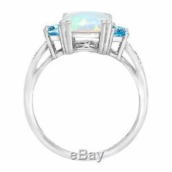 2 3/8 ct Natural Opal & Swiss Blue Topaz Ring with Diamonds in Sterling Silver
