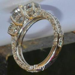 2.50Ct Round Near White Moissanite 3 Stone Engagement Ring 925 Sterling Silver
