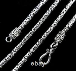 2.5MM Handmade Solid 925 Sterling Silver Balinese BYZANTINE Chain Necklace Bali