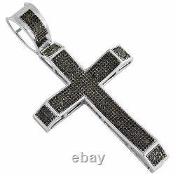 2.81 CT. Sterling Silver Black Diamond Cross Pendant 3.30 Men's Pave Charm