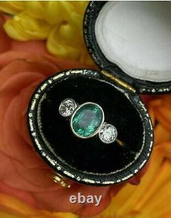 2 Ct Emerald & Diamond Trilogy Wedding Vintage Art Deco Ring 925 Sterling Silver