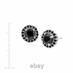 2 ct Black Diamond Halo Stud Earrings in Sterling Silver