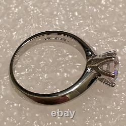 2ct Round Cut Colorless Lab-Moisanite 14k White Gold Sterling Silver Size 8.5