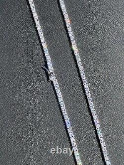 2mm MOISSANITE 925 Sterling Silver Tennis Chain Necklace Passes Diamond Tester