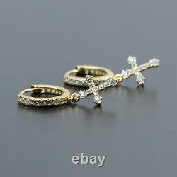 2pc 14K Gold 925 Sterling Silver Dangle Cross Drop Huggie Hoop Earrings For Men