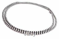 30 Navajo Pearls Sterling Silver 5mm Beads Necklace