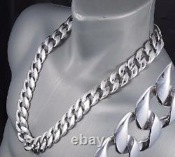 32 464g BIKER HEAVY HUGE CURB LINKS CHAIN 925 STERLING SILVER MENS NECKLACE PRE