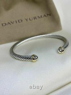 $395 David Yurman Sterling Silver 925 4mm Cable Classics Bracelet with 18K Gold
