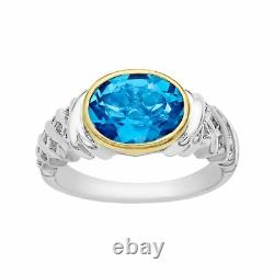 3 1/10 ct Natural Swiss Blue Topaz Ring in Sterling Silver and 10K Gold