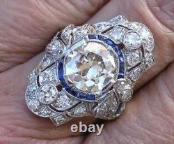 3.25 Ct Art Deco Antique Round Cut Vintage Engagement Ring 925 Sterling Silver